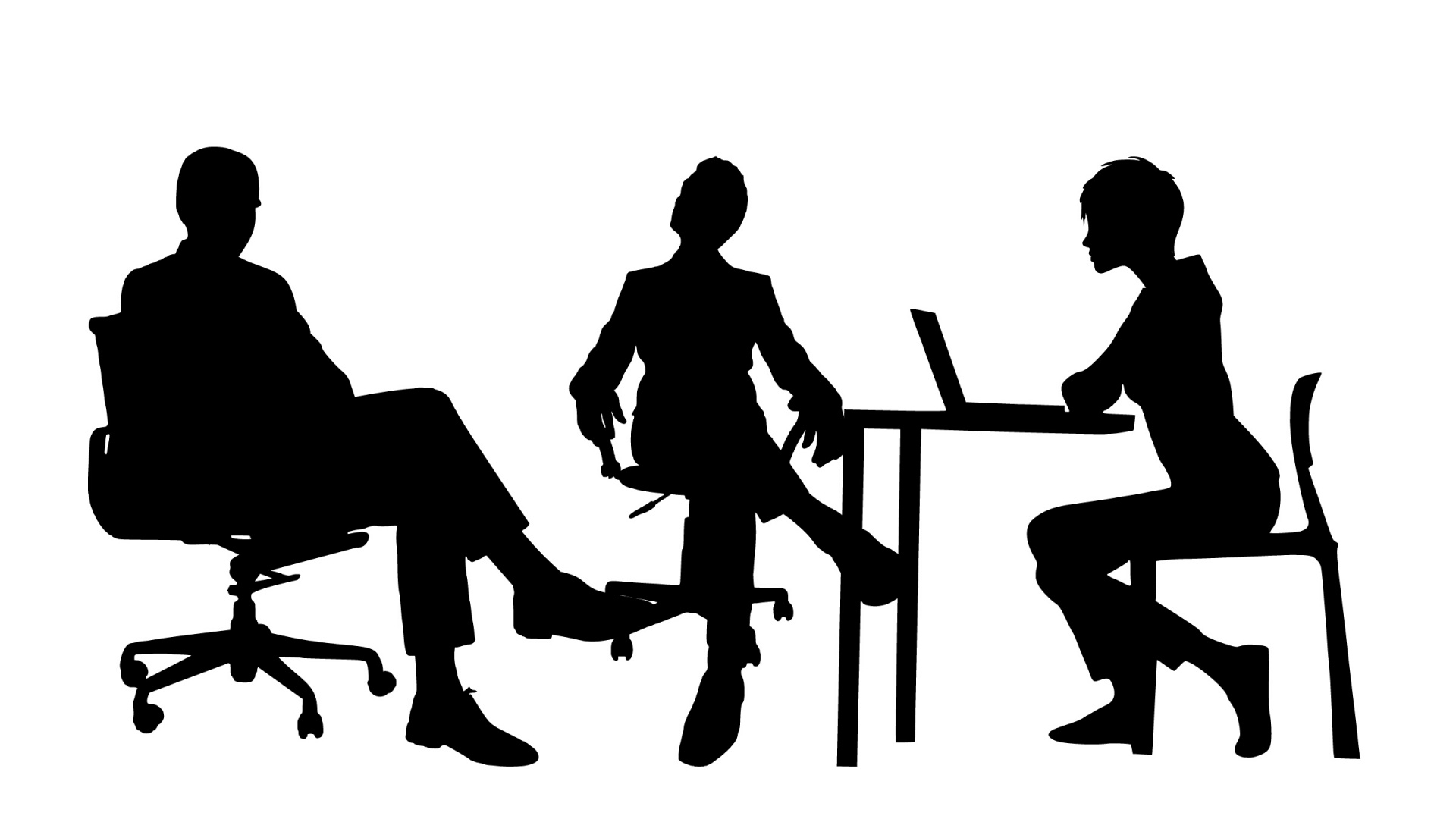 Stock clip-art photo of two office workers talking to a third.