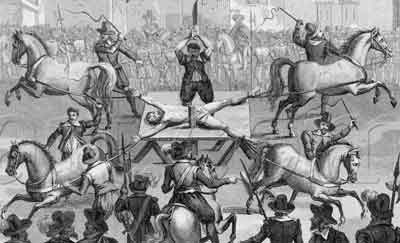 Medieval black and white image of a man being drawn and quartered.