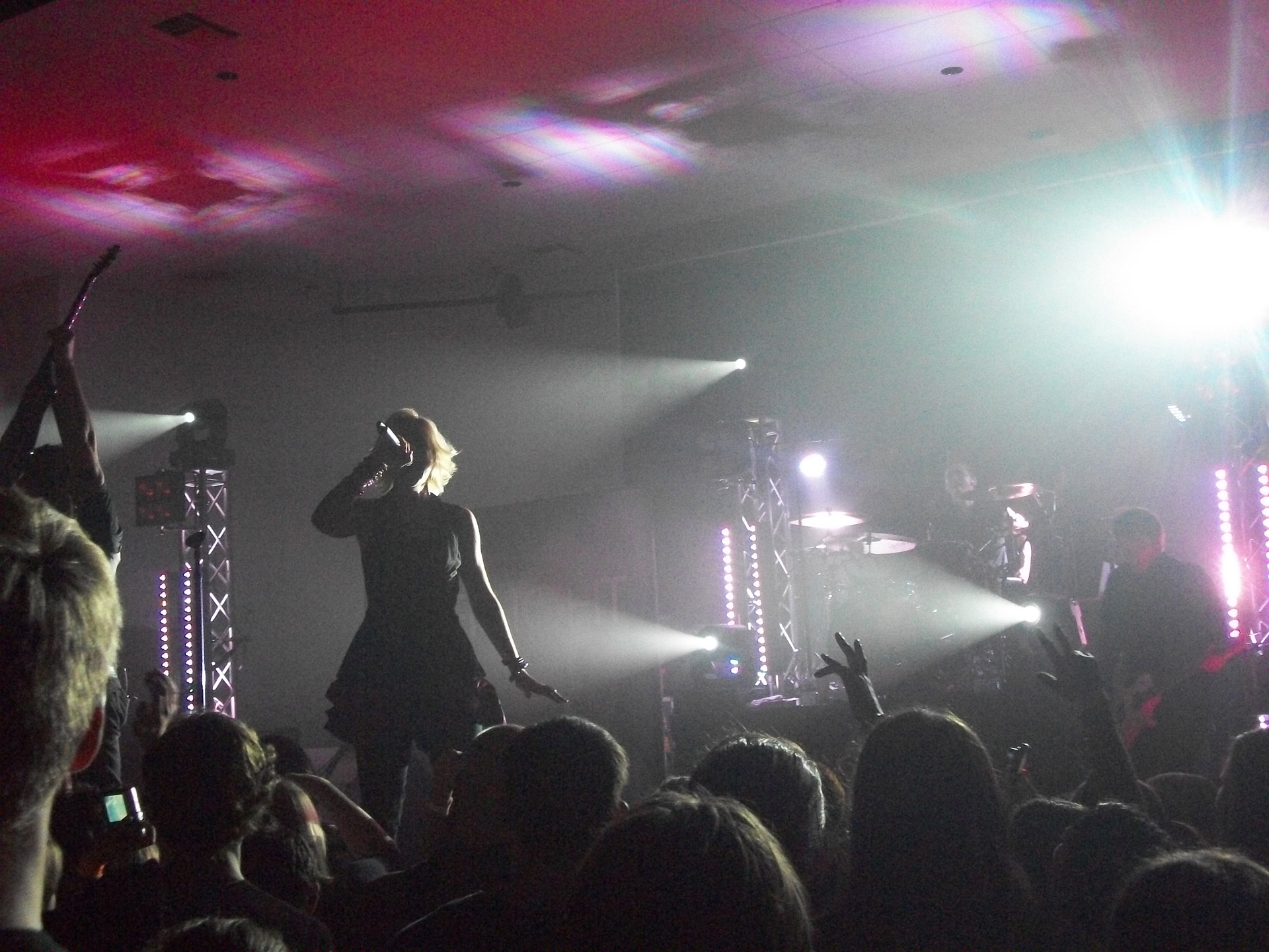 Full color photo of a rock band on stage.  Female vocalist featured prominently in silhouette while the crowd watches on.