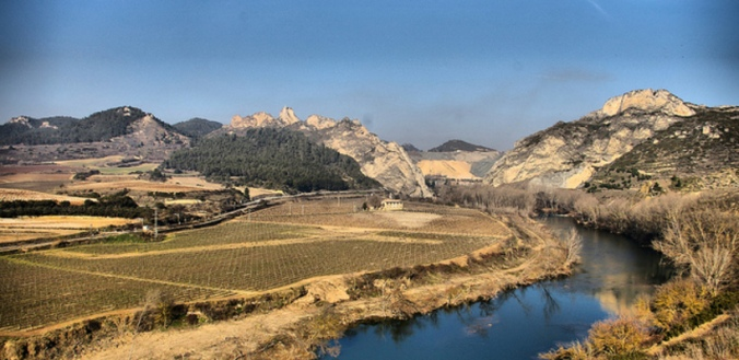 Hills in the Ebro Valley in Spain, where Hemingway's story takes place.