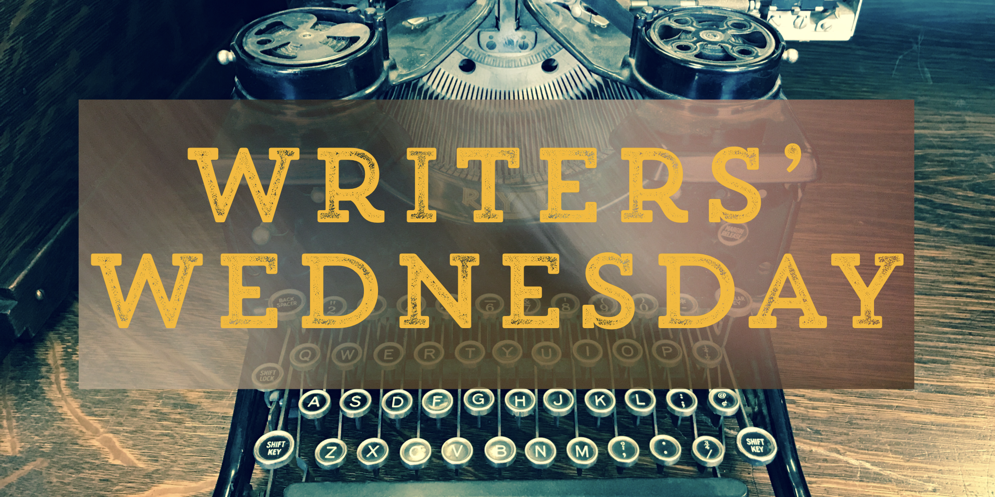 Brandonia Writers' Wednesday logo.  An antique typewriter behind the words Writers' Wednesday in yellow font.