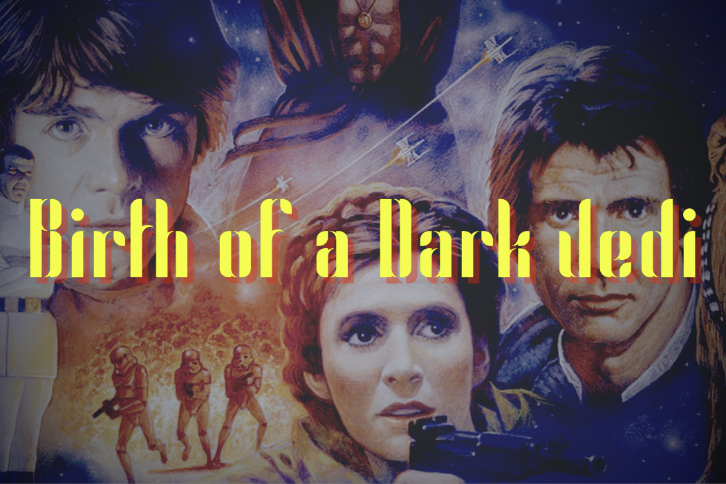 "Original artwork for Timothy Zahn's Heir to the Empire series with the title of my story ""Birth of a Dark Jedi"" imposed in yellow letters over the top."