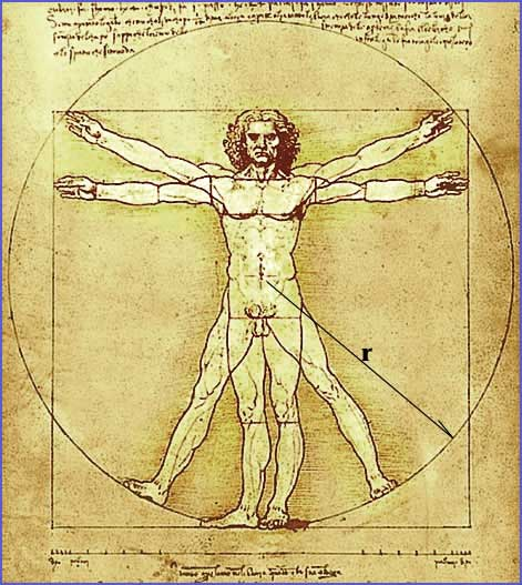 "Da Vinci's classic sketch ""The Vitruvian Man"""