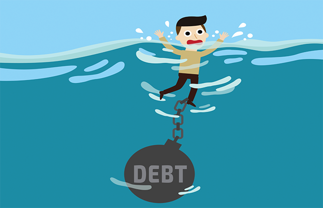 "cartoon of a man trying to swim with a giant weight labeled ""Debt"" tied to his ankle."