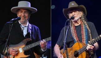 Image of Bob Dylan on the left and Willie Nelson on the right.