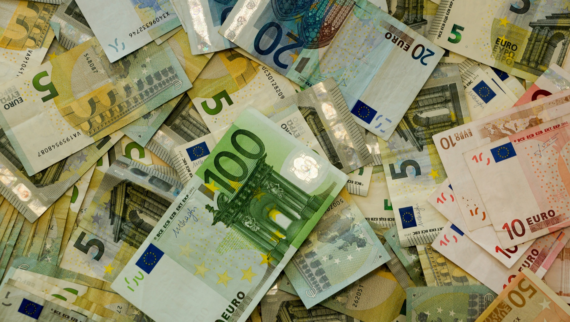 A pile of cash in Euros.