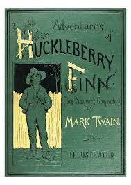"Original cover for Mark Twain's ""The Adventures of Huckleberry Finn."""
