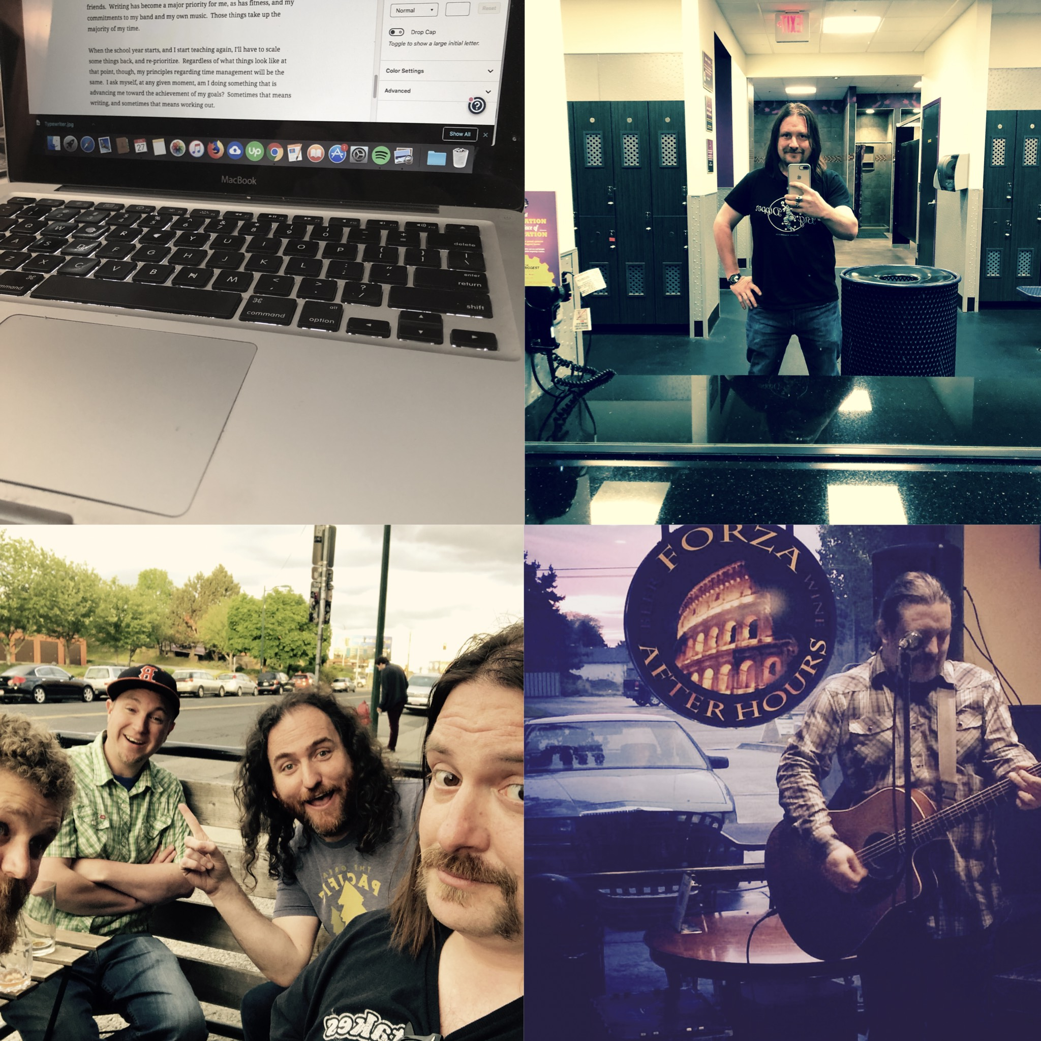 Collage of a computer, a gym photo, a band photo, and a photo from a solo acoustic performance