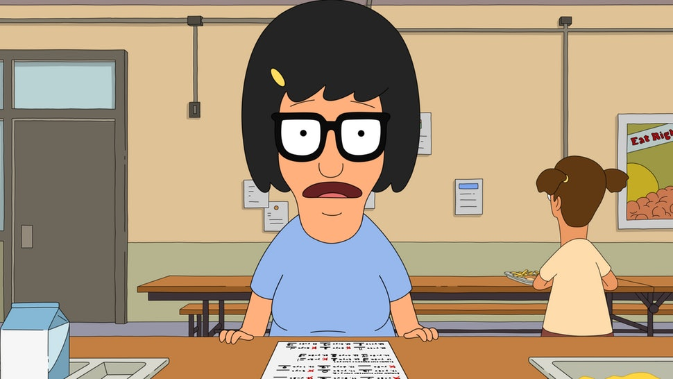 "Tina Belcher from ""Bob's Burgers"" looking anxious."