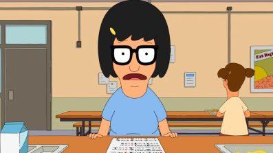 "Tina Belcher from ""Bob's Burgers"" looking anxious."