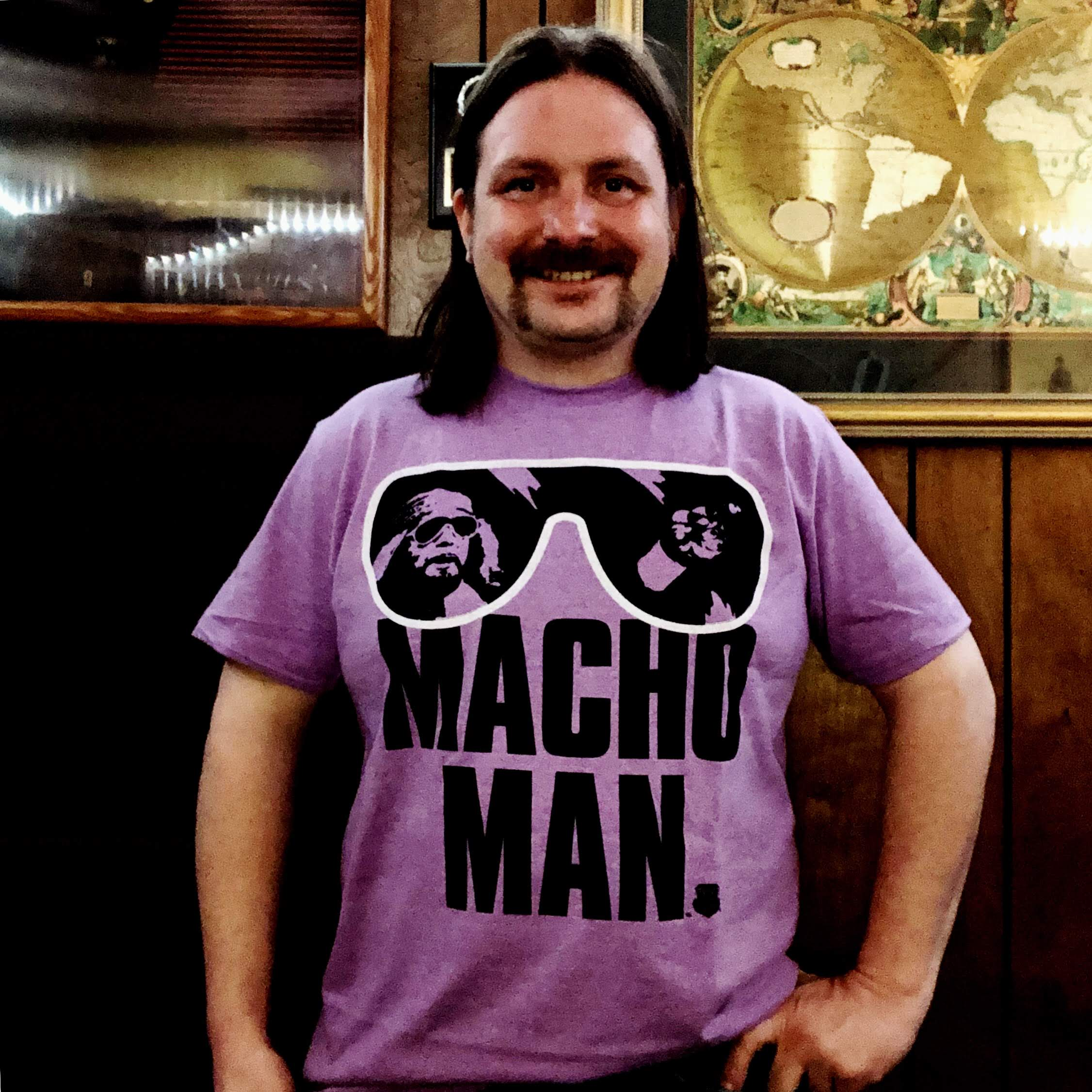 Photo of me wearing my Macho Man t-shirt this spring.