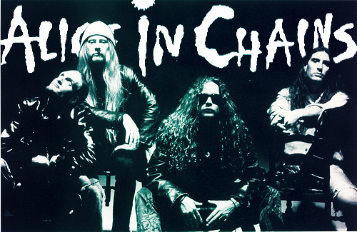 Promo band photo of Alice in Chains: (left to right) Layne Staley, Jerry Cantrell, Mike Inez, and Sean Kinney