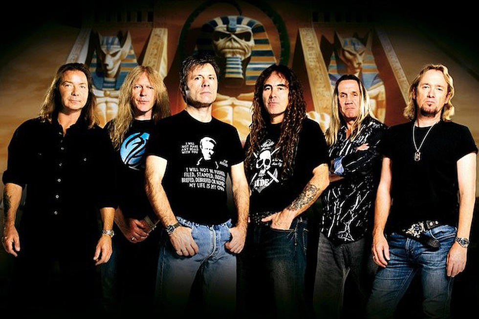 Iron Maiden: (left to right) Dave Murray, Janick Gers, Bruce Dickinson, Steve Harris, Nicko McBrain, and Adrian Smith